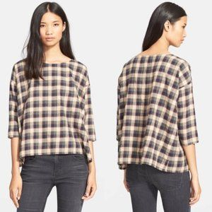 The Great. Plaid Oversized Top Blouse